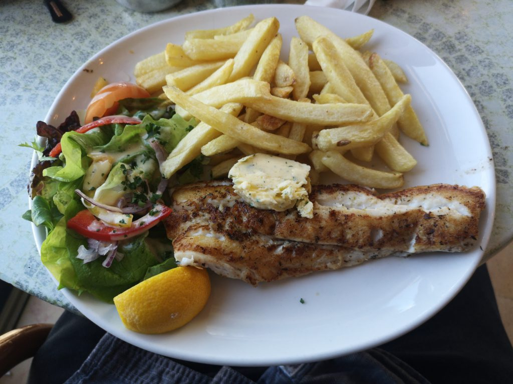 Hake and chips from La Jolie Brise, Baltimore